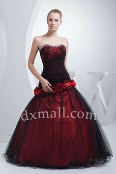 Drop Waist Color Dresses Sweetheart Floor Length Netting Taffeta Burgundy #quinceaneradresses #quinceaneradresses2014