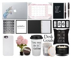 """Desk goals"" by shinepage ❤ liked on Polyvore featuring interior, interiors, interior design, home, home decor, interior decorating, House of Doolittle, Vinyl Revolution, Balmain and Home Essentials"