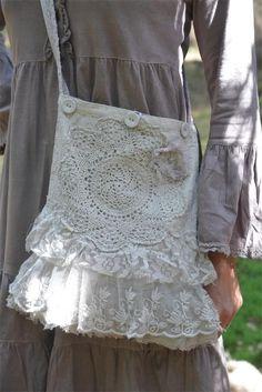 Jeanne d'Arc Living Lagenlook Lace/Crochet Purse Linen Color 9x14 | eBay