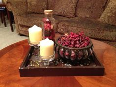 Coffee table decor...potpourri and candle/holder..boom..easy