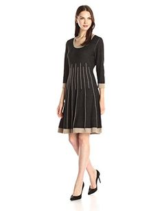 Nine West Womens 34 Sleeve Crew Neck Fit and Flare Sweater Dress BlackGrey Pearl XSmall ** You can find out more details at the link of the image.