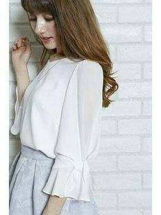 White blouse, split layered crepe chiffon 3/4 sleeve with tie  | Women Fashion, Feminine Look, Classy Look, Office Look, Lovely, Romantic, High Quality, Fall Fashion