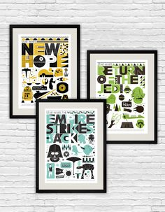 Star Wars baby nursery prints by handz on Etsy. How cool is that!