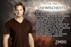 I took Zimbio's 'Supernatural' quiz and I'm Sam Winchester! Who are you?