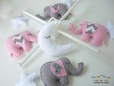 Dreamtime Baby Elephants - Pink and Grey Felt Baby Mobile - with Chevron and Buttons