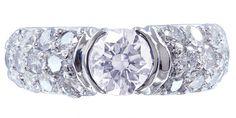 14k white gold round cut diamond engagement ring semi by KNRINC