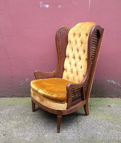 vintage Hollywood Regency cane wingback chair. gold velvet upholstery with tufted back. min century home decor | ReRunRoom | $325.00