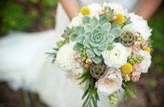 Sweet Violet Bride - http://sweetvioletbride.com/2013/08/wedding-flower-inspiration-craspedia/