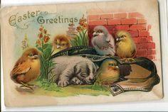 Easter Greetings Embossed Vintage Easter by sharonfostervintage, $2.00
