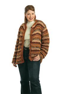 Five-yarn Jacket free #crochet pattern in plus sizes.