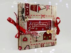 Christmas scrapbook tutorial- Create your album to keep photos and memories of Christmas, using paper and cloth. really easy and fun. Album Photo Scrapbooking, Mini Scrapbook Albums, Scrapbook Journal, Diy Mini Album, Mini Album Tutorial, Handmade Journals, Handmade Books, Christmas Scrapbook, Memories