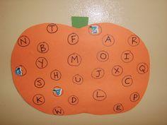 alphabet matching pumpkin-put on fridge and match magnetic letters