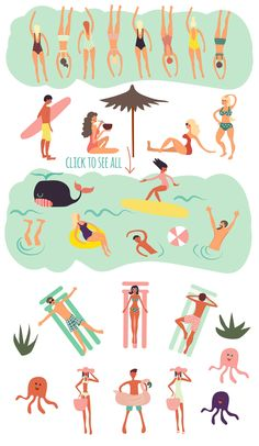 Summer Time Graphic Collection by Nnena Irina on Happy Summer, Summer Time, Graphic Design Illustration, Illustration Art, Don Du Sang, Time Icon, Funny Postcards, Funny Letters, Cute Cartoon Characters