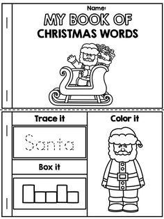 *** FREE *** My Book of Christmas Words >> Packet also includes label Santa, label an elf, label the reindeer and Christmas Word Search. Kindergarten, first grade, grade Kindergarten Vocabulary, Vocabulary Activities, Kindergarten Classroom, Preschool Activities, Christmas Word Search, Christmas Words, Noel Christmas, Xmas, Christmas Sheets