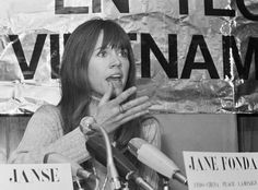 Fonda at an anti-Vietnam War conference in The Hague in January 1975. By Mieremet, Rob / Anefo - [1] Dutch National Archives, The Hague CC BY-SA 3.0 nl.