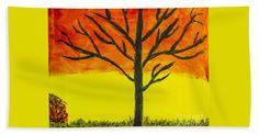 Autumn Bath Sheet featuring the painting Autumn Sunset by Scott Hervieux