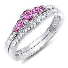 14K White Gold Round Pink Sapphire And White Diamond 5 Stone Bridal Engagement Ring Matching Band Set * You can get more details here : Jewelry Bridal Sets