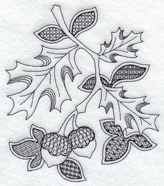 Autumn Leaves and Acorns (Blackwork)