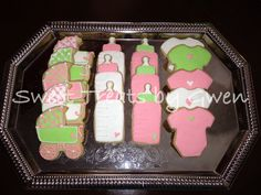 - Pink and green baby shower cookies