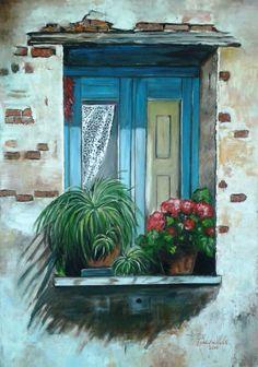 Isabel Nuñez - Ventana Azul - óleo/acrílico sobre tela de 70x100 cms - (Réplica)