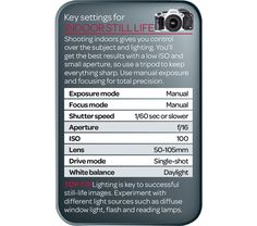 Is your still life photography suffering from poor exposure? Our tip card offers the best camera settings for indoor still life photography..