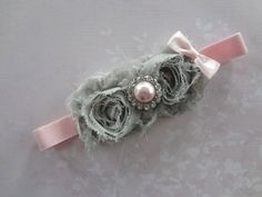 Shabby Chic Rosette Headband-Baby Girl Headbands-Infant Headbands-Flower Headbands-Vintage Headbands-Spring Photo Prop. $11.95, via Etsy.