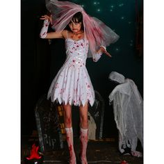 Zombie Bride Halloween Costume Bloody Dead Zombie Mini Dress (36 CAD) ❤ liked on Polyvore featuring costumes, zombie bride halloween costume, corpse bride halloween costume, zombie halloween costumes, living dead costume and zombie costume