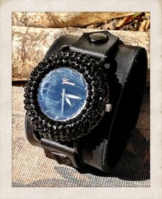 Women's Leather watch cuff bracelet with Bling Black by TornTo, $59.00