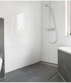 Wandtegel glans wit 30x60 gerectificeerd met Manhattan voeg badkamer ...