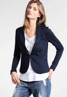 """Zalando Essentials. Blazer - dark blue. Our model's height:Our model is 71.0 """" tall and is wearing size S. Fit:small. Outer fabric material:74% polyester, 24% viscose, 2% spandex. Pattern:plain. Care instructions:do not tumble dry,machin..."""