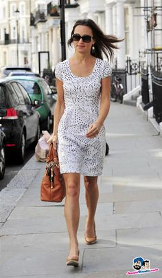 Pippa Middleton - sundress and brown bag