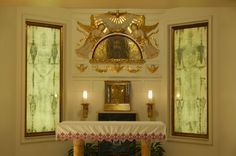 Altar at the Holy Face Monastery in Clifton, New Jersey, featuring images of the dorsal and ventral sides of the Holy Shroud of Turin,