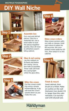DIY Tutorial: How to Build a Wall Niche. Make use of space between wall studs with this simple shelf. You can build it in less than a day.