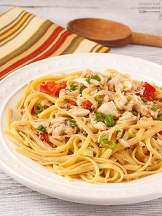 Linguine with Crab ~ lump crabmeat, fresh tomatoes, scallions, white wine, butter