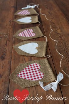 Heart banner for my mantel #mantel #hearts #decor #burlap #banner #valentine #love #etsy #ad