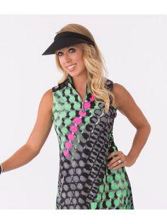 Jamie Sadock Emerald Women's Sleeveless Abstract Dot Print Mock Neck Golf Dress-Mint Julep