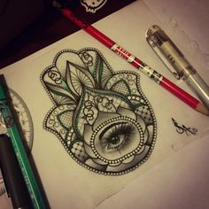 Image result for neo traditional hamsa tattoo