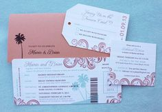 Coral, Turquoise & Gray Swirl & Palm Tree Boarding Pass Wedding Invitations