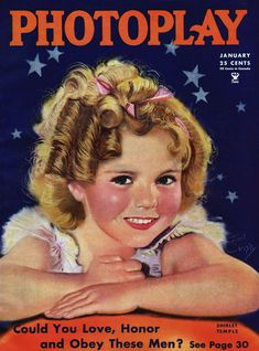 """Shirley Temple on the cover of """"Photoplay"""" magazine, USA, January 1935. Illustration by Earl Christy."""