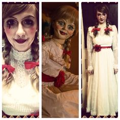 My Annabelle costume, Costumes, makeup, Annabelle, Halloween Makeup, Halloween, seasonal, holiday, events, fun, scary, creepy, creative, love