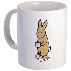 Rabbit with Joe and slippers mug
