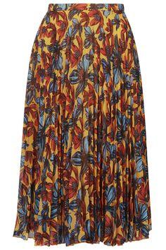 Daisy Print Pleated Midi Skirt - Skirts - Clothing - Topshop