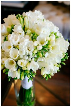 Silver Swan Soiree - All white bridal bouquet – My Eastern Shore Wedding - Spring Wedding Bouquets, Flower Bouquet Wedding, Floral Wedding, Flower Bouquets, Bridal Bouquets, Purple Wedding, Freesia Bouquet, Prom Flowers, Wedding Centerpieces
