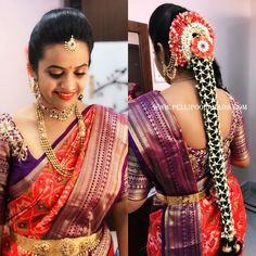 Hair style Engagement Hairstyles, Bride Hairstyles, Black Women Hairstyles, Bouffant Hairstyles, Updos Hairstyle, Brunette Hairstyles, Indian Beauty Saree, Indian Sarees, Silk Sarees