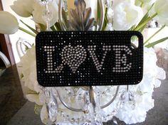 Handmade Black and Rhinestone LOVE by GlitzGlamourandBling on Etsy, $15.00