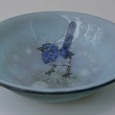 Australian Blue Wren -Soup Bowl by Michelle  Rial