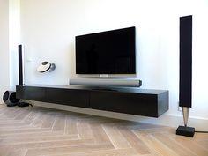 Zwevend mat zwart design design tv kast dressoir .
