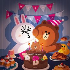 BROWN PIC is where you can find all the character GIFs, pics and free wallpapers of LINE friends. Come and meet Brown, Cony, Choco, Sally and other friends! Cute Love Pictures, Cute Love Gif, Brown Wallpaper, Iphone Wallpaper, Line Cony, Cony Brown, Brown Bear, Bear Gif, Happy Birthday Wallpaper