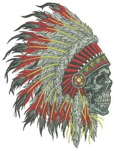 Dead warrior machine embroidery design from Native American collection great look at denim apparel. Native American Tattoos, Native American Artwork, Indian Feather Tattoos, Western Tattoos, Native American Spirituality, Eagle Pictures, Font Art, Skull Tattoo Design, Free Machine Embroidery Designs