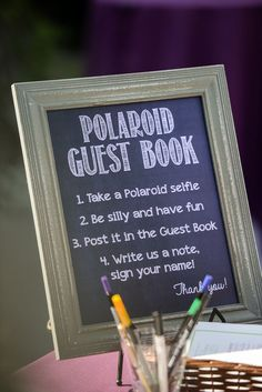 instructions for a polaroid guest book corner on your wedding day:collect the memories from your guests during a photo booth.